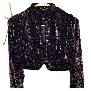 Free people velvet floral bolero jacket
